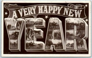 Large Letter Greetings Holiday Postcard A Very Happy NEW YEAR RPPC 1909 Cancel