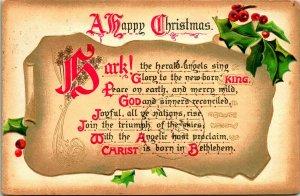 Vtg Postcard 1911 Tuck's Christmas Hymns - Hark the Herald Angels - Embossed