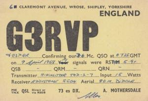 Shipley Yorkshire Amateur Radio Station QSL 1960s Postcard