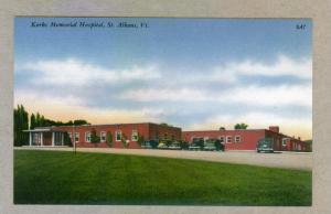 Kerbs Memorial Hospital, St. Albans, Vermont unused Tichnor linen Postcard