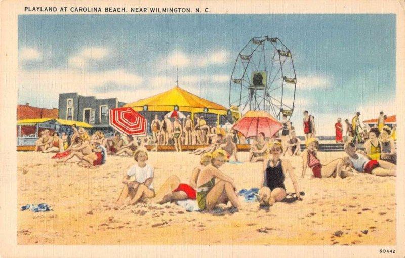 Carolina Beach North Carolina ferris wheel beach bathers antique pc ZE686264