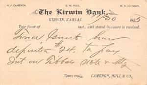 Kirwin Kansas~Kirwin Bank~Cameron Hull Co~John Van Wagner NY~Receipt Postal~1885