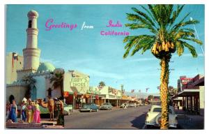 1950s/60s Greetings from Indio, CA, Kirby's Shoes, Indio Music Postcard