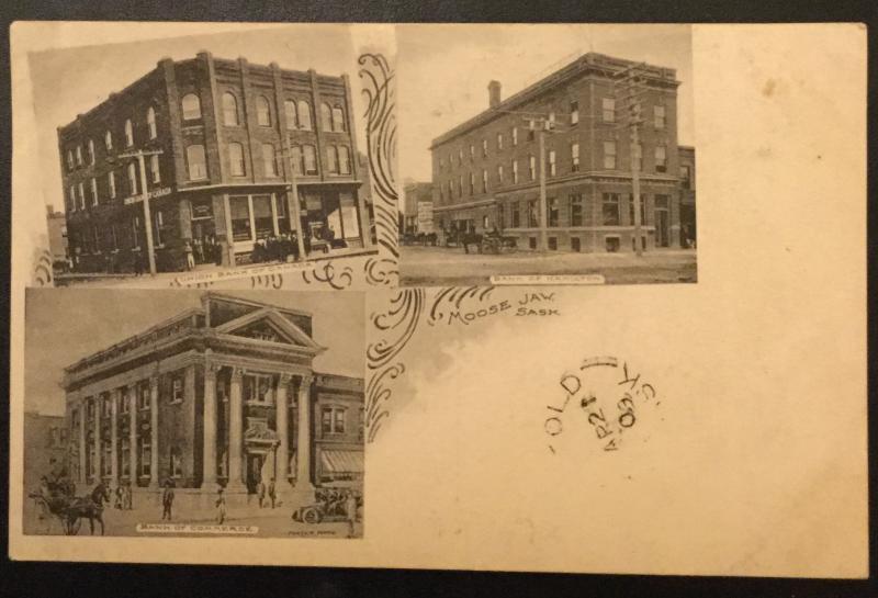 Vintage Postcard Used Stamp missing Banks Moose Jaw Canada RPO LB