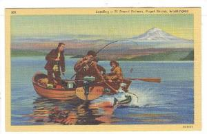 Landing a 36 pound Salmon,Puget Sound, Washington,30-40s