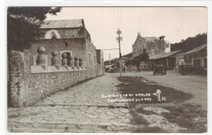 El Atrio La Avenida Hidalgo Cars Tamazunchale SLP Mexico RPPC 1940s postcard