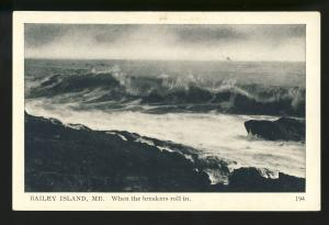 Bailey Island, Maine/ME Postcard, When The Breakers Roll In, High Surf