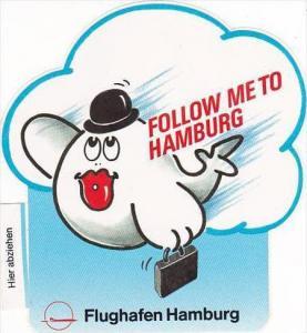 HAMBURG AIRPORT VINTAGE AVIATION LABEL