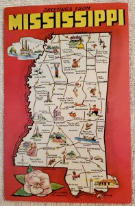 Greetings From Mississippi, Dexter Press. Map of MISS.