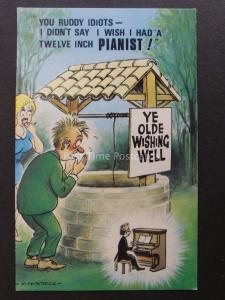 Wishing Well Theme DIDNT SAY I WISH I HAD A 12inch PIANIST! postcard by Bamforth