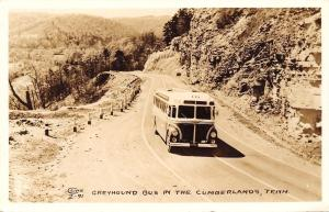 Cumberlands Tennessee~1940s Greyhound Bus~Real Photo Postcard RPPC 1940s