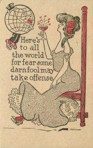 Artist Impression Woman drinking celebrating 1908 Globe Postcard 11314