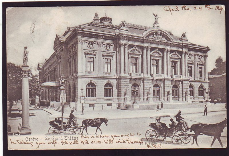 P1653 1904 used postcard geneve-le grand opera theatre with horse & wagons