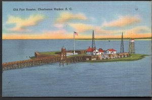 South Carolina CHARLESTON HARBOR Old Fort Sumter - Linen
