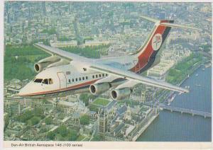 Dan-Air British Aerospace 146 Jetliner in Flight over London, River Thames
