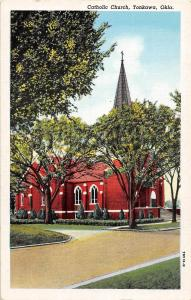 Oklahoma Ok Postcard c1930 TONKAWA Catholic CHurch Building
