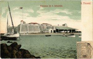 PC CPA ANGOLA, S. THOMÉ, FORTALEZA DE S. SEBASTIAO, VINTAGE POSTCARD (b20835)