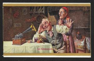VICTORIAN TRADE CARD The Phonograph Edison Old Couple