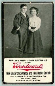 Council Bluffs IA~Midget Couple Jean Bregant~Woodward's Sugar Candy~c1910 Adv PC