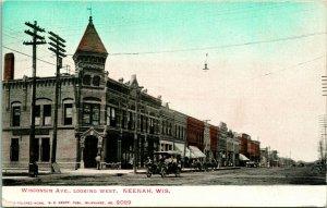 Vtg Postcard c 1908 UDB Wisconsin Ave Looking West Neenah WI Hand Colored Unused