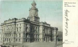 Des Moines Iowa~Polk County Court House West Side~1908 CU Williams Photoette