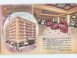 Divided-back HOTEL SCENE St. Louis Missouri MO AE2226