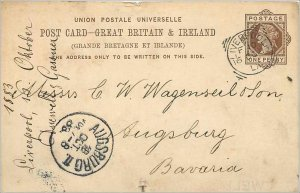 Entier Postal Stationery Postal Britain Great Britain in 1883 Liverpool to Ba...