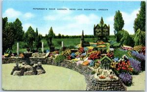 Redmond, Oregon Postcard PETERSEN'S ROCK GARDENS Roadside Kropp Linen 1940s