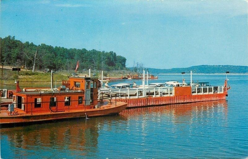 Norfolk Lake AR~Ferry Boat~State Hwy Dept Tug~Ozark Playground Series~1950s Cars