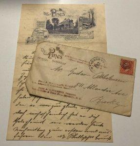 Vtg 1895 Lot of 2 THE PINES Shohola Glen Barryville New York Letterhead Envelope