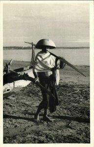 indonesia, BALI, Native Male Fisher, Costumes (1940s) RPPC Postcard