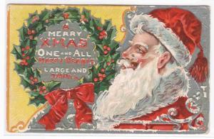 Santa Large Image Holly Wreath Christmas 1910c postcard