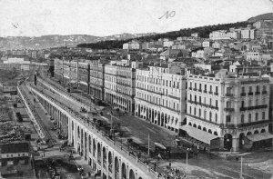 Algeria La Rue Street Tram Cars Panoramic view Postcard