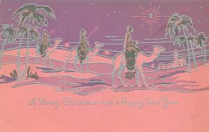 Christmas~Wise Men on Camels Follow Star~Silver Filigree~Pink Purple~Art Deco