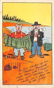 Fishing Post Card Men with a Stringer Full of Fish Comic Unused