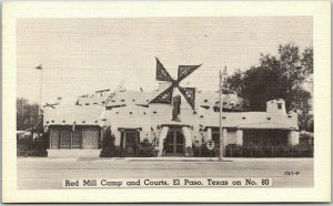 El Paso, Texas Postcard RED Mill CAMP AND COURTS Highway 80 Roadside Linen 1950s