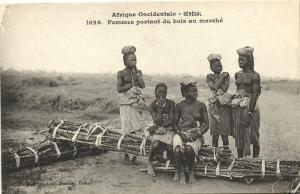 CPA Senegal Ethnic Nude Fortier - 1026. Femmes portant du bois au marché (71150)