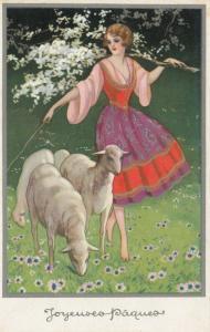 ART DECO ; Joyeuses Paques (Easter) Barefoot Shepherdess with sheep, 1910-20s