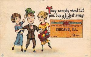 No Ticket Away From Chicago~Ladies Hold on to Gent~Happy Railroad~1914 PC
