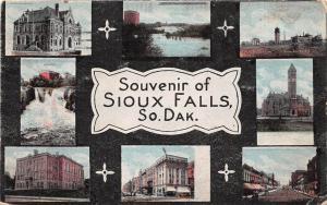 South Dakota SD Postcard 1920 SIOUX FALLS 8View School Main Street Factory
