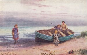 Seaside Joy, Girls Playing On A Boat, TUCK No. 9482, 1900-1910s