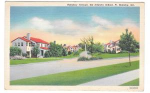 GA Fort Benning Rainbow Ave Infantry School Military Vintage linen Postcard
