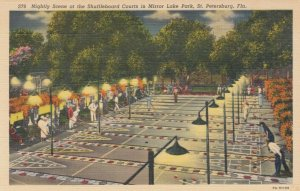 ST PETERSBURG, Florida, 30-40s; Nightly Scene at the Shuffleboard Courts in Mirr