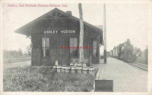 IN, Ashley Hudson, Indiana, Wabash Railroad Train Station Depot