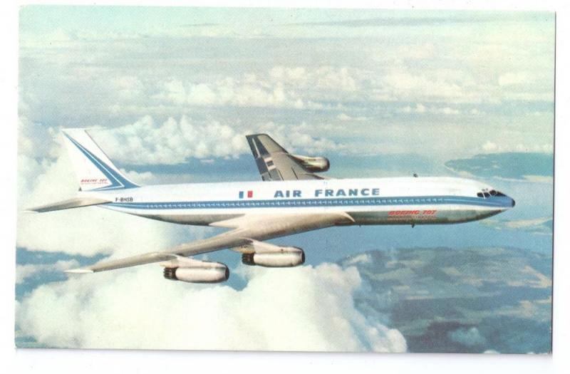 Air France Boeing 707 Intercontinental Jet Airliner Vintage Aviation Postcard