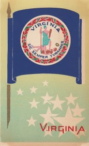 VIRGINIA , State Flag , 40-50s ; Serigraph