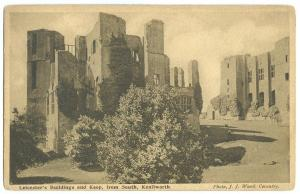 UK, Leicester's Buildings and Keep, from South, Kenilworth, early 1900s Postcard