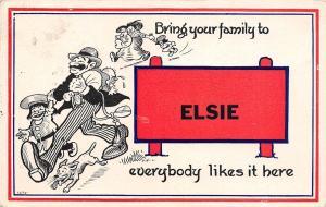Elsie MI Striped Pants Man w/Family: Wife, 4 Kids, Dog~Everybody Likes It 1914