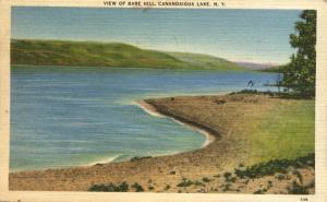 View of Bare Hill from West Side of Canandaigua Lake NY New York pm 1948 - Linen