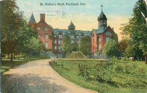 St Helen's Hall, Portland Oregon 1914 Postcard Panama Pacific Expo Cancel